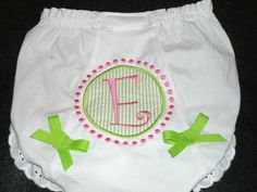 Personalized Seersucker Bloomers Diaper Cover  Initial with