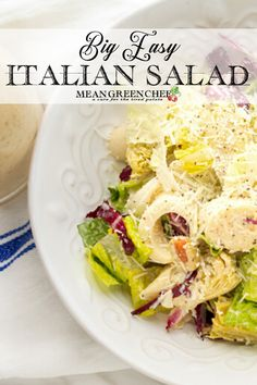 Big Easy Italian Salad is part leafy green salad and part antipasto salad. Dressed in our Creamy Italian Salad Dressing which makes the flavor pop it's. Appetizer Salads, Dinner Salads, Appetizer Recipes, Vegetarian Appetizers, Recipes Dinner, Chef Recipes, Side Dish Recipes, Italian Recipes, Pasta Salad Recipes