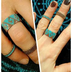BeadworkBrasil by Bia Alessi: anel zigzag, peyote par. Seed Bead Jewelry, Beaded Jewelry, Jewelry Rings, Jewellery, Peyote Beading, Jewelry Patterns, Beading Patterns, Diy Beaded Rings, Bead Jewelry