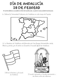 ficha+dia+andalucia-2 Illustrations, School Ideas, Ideas Para, Worksheets, Maps, One Day, February, Second Best, Children