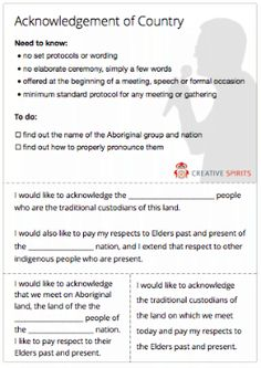 Thumbnail of an Acknowledgement of Country cheat sheet. Aboriginal Education, Indigenous Education, Aboriginal Culture, Activities For Adults, Educational Activities, Preschool Activities, Teaching Kindergarten, Teaching Music, Naidoc Week Activities