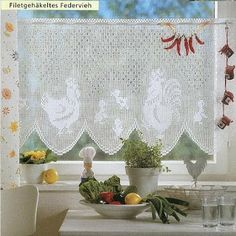 Filet häkeln Gardine - filet crochet curtain                                                                                                                                                                                 More