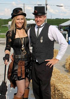 "Photo of Kathy Camden and John Hale of Wichita, KS enjoying the 2014 ""First Annual"" Big River Steampunk Festival -- Second Annual Festival to be held Sept. 5-7, 2015 in Hannibal, Missouri www.BigRiverSteampunkFestival.com"
