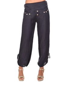 Love this Navy Blue Linen Harem Pants on #zulily! #zulilyfinds