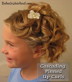It might actually work for my daughter's hair. Cascading Pinned Up Curls Little Girl Updo, Cute Little Girl Hairstyles, Flower Girl Hairstyles, Elegant Hairstyles, Messy Hairstyles, Pretty Hairstyles, Wedding Hairstyles, Bridesmaid Hairstyles, Thin Hair Layers