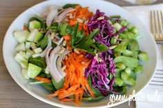Raw Foods Detox Salad with Avocado Vinaigrette  (no-oil dressing) via Green Plate Rule