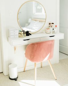Friends touring house for the first time Mallory: Since this is so close to your bed it must motivate you to keep it clean all the time! Bar Set Furniture, Holly Marie, Diy Vanity, Target Style, Motivate Yourself, New Room, White Walls, Midcentury Modern, Keep It Cleaner