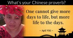 What's your Chinese proverb?