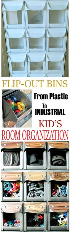 Remodelando la Casa: Flip-Out Bins - Kid's Room Organization - this is so cool! You have to see what she used to make this!!!!!