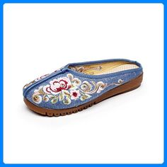Eagsouni® Damen Stickerei Sommer Pantoffeln Mary Jane Halbschuhe for sale Mary Janes, Cotton String, Chinese Style, Low Heels, Birkenstock, Vintage Ladies, Fashion Jewelry, Slippers, Walking