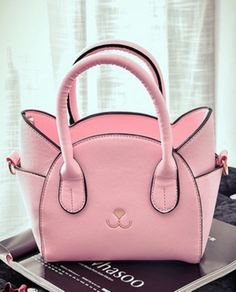 Cute PINK cat theme top-handle handbag for women. #handbags #pinkhandbag #pink #cat #fashion #fashionaccessories