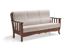 Divano 3 posti in pino massello con cuscini ergonomici e sfoderabili, tinta noce. 3-seater sofa, pine-wood, 100% Made in Italy.  #sofa #pine #wood #countryfurnitures #mobilipino #arredamento #salotti #madeinItaly www.demarmobili.it