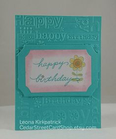 Teal & Pink Embossed Birthday Card by CedarStreetCardShop on Etsy Birthday Cards, Happy Birthday, Teal And Pink, Anniversary Cards, White Envelopes, Greeting Cards Handmade, Card Stock, Daisy, Handmade Items
