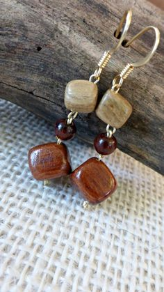 Multicolor wooden blocks  earrings  Wood by TheWoodenTreasures