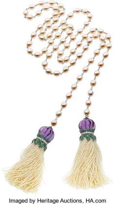 Estate Jewelry:Necklaces, Piranesi Multi-Stone, Diamond, Cultured Pearl, Seed Pearl, WhiteGold Necklace. ...