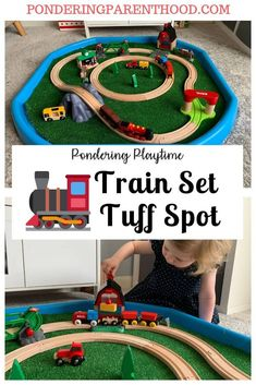 Does your preschooler love trains? Check out this train set tuff spot, which is almost as fun for grown ups to create, as it is for children to play with! Nanny Activities, Eyfs Activities, Train Activities, Learning Activities, Kids Train Set, Brio Train Set, Tuff Spot, Tuff Tray, Home Schooling