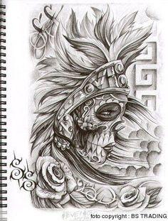 ... tattoo designs chicano art skull tattoo design aztec muerta steve soto