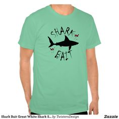 Shark Bait Great White Shark Silhouette T-Shirt. This cool red blood splattered T-shirt is perfect for fearless surfers, swimmers and divers, and is fully customisable online by you