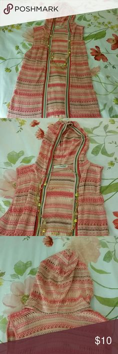 Long sweater Sleeveles hooded Long sweater Sweaters Cardigans
