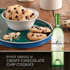 Satisfy your sweet tooth with our Pinot Grigio and Crispy Chocolate Chip Cookies. Find the recipe on our Recipe & Pairings Facebook app. www.facebook.com/entwinewines.