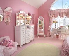 Pretty pink girls bedroom