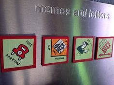 Handmade magnets from a  Vintage Monopoly board - 4 corners - OOAK - great gift