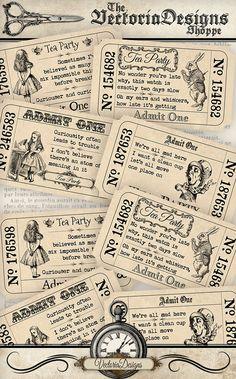 Alice in Wonderland Tea Party Tickets quotes di VectoriaDesigns