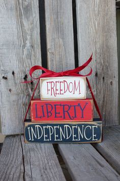 Americana Block Wood Set independence summer flag military 4th of July America primitive country personalized. $18.95, via Etsy.
