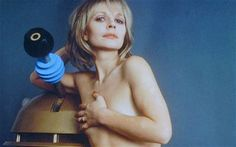 """For my Whovian friends: Katy Manning as """"Jo Grant"""", Doctor's companion, and a Dalek Avant Garde Film, Sci Fi Tv Series, Doctor Who Companions, 11th Doctor, Dalek, Classic Series, Dr Who, Best Tv Shows, Tardis"""