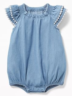d70d6577d8c3 Chambray Bubble Romper for Baby Cute Baby Clothes