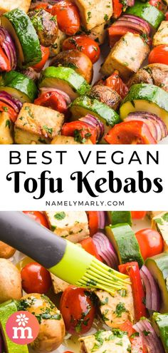 These Vegan Tofu Kebabs will make summer meals extra special! Made with marinated tofu and veggies, it's the BEST every grilling recipe. #vegankebabs #vegankebabsrecipe #vegankebab #vegan #summer2021 #vegansummerrecipes #namelymarly Kebab Recipes, Veg Recipes, Grilling Recipes, Summer Recipes, Gourmet Recipes, Marinated Tofu, Kebabs, Meatless Monday