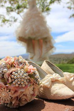 Silk flower and brooch bouquet