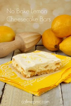 No Bake Lemon Cheesecake Bars - Fluffy, light, creamy, refreshing and not overly sweet via Call Me PMc Lemon Desserts, Köstliche Desserts, Dessert Drinks, Lemon Recipes, Dessert Bars, Baking Recipes, Delicious Desserts, Dessert Recipes, Cream Recipes