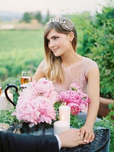 girl-in-long-pink-gown-jewel-halo-crown http://itgirlweddings.com/tuscany-pre-wedding-shoot/
