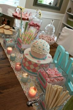 Cakes and decoration pink and light blue