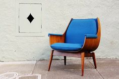 Bent Ply and Walnut Lounge Chair | Cobalt | via Mad for Mid-Century