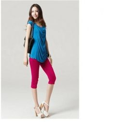 $8.51 Plus Size Candy Color Elastic Slim Half Pants Rose