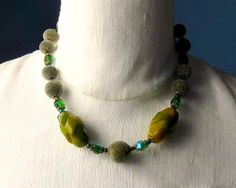 Vintage Green Beaded Hobe Necklace Carved Bakelite by vintagepaige, $52.00