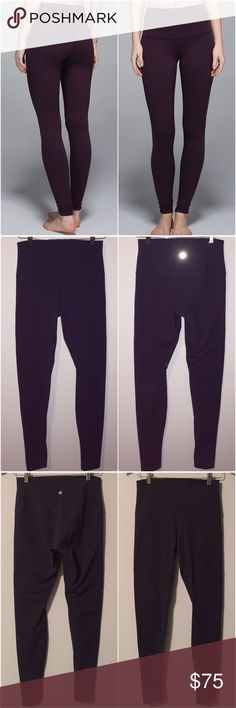 Lululemon wunder under roll down full on luon Lululemon wunder under pant roll down waist, size 8, gently worn & in great condition. No rips/holes/stains/pulls/etc, only sign of wear is some light piling in the crotch area but it's not bad at all &there is no piling anywhere else. Adjustable rise versatile pants were designed to fit like a second skin, tight knit version of our luon fabric-Full On Luon gives incredible support and coverage with a cottony soft feel, added lyrca fibre bends…