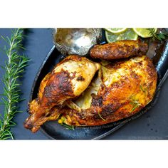 Succulent Roasted Chicken Marinated in Smoked Paprika, Cumin Wine and... ❤ liked on Polyvore featuring food