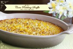 This sweet and buttery Corn Pudding Souffle is an absolute must-make holiday side dish. It pairs well with holiday ham, turkey or standing rib roast. Corn Pudding Recipes, Corn Recipes, Side Dish Recipes, Vegetable Recipes, Corn Pudding Souffle Recipe, Recipies, Corn Souffle Jiffy, Yummy Recipes, Healthy Recipes