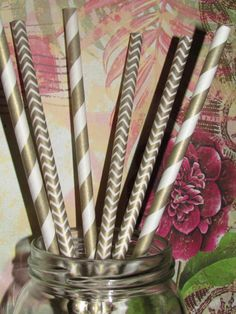 Gold Stripe and Chevron Paper Straws, Party Drinking Straws - 50 total ( 25 each design) DIY Flags Ships Fast from USA, FReE TRAcKING on Etsy, $5.49