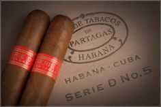 Partagas Serie D #5    The Series D No. 5 complete the prestigious Partagas Series D, which had so far with one of the most prized cigars range of sizes: the Series D No.4 The Series D No. 5 is a cigar of a size smaller than the Serie D No. 4, but with the same stocks (50). His time of smoking is approximately 30 minutes. A format adapted to the times in which we have less time to smoke.