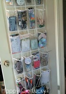 Store office supplies on the back of the door and stay organized without having a huge desk with drawers crammed full so you can't find things!    GOOD BYE BIG BULKY DESK!