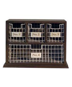 Love this Wood Cabinet & Wire Bin Set on #zulily! #zulilyfinds