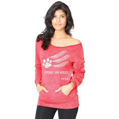 3ac036f5ca5fe FTLA Apparel Hounds and Heroes Red Off The Shoulder Eco Fleece Sweatshirt