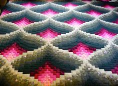 Amish Quilt Light In The Valley Pattern (green and burgundy) hand quilted. Interesting the water they used fabrics to look like shadowing and light Amish Quilt Patterns, Bargello Quilt Patterns, Bargello Needlepoint, Bargello Quilts, Amish Quilts, Scrappy Quilts, Quilts For Sale, Hand Quilting, Pattern Books