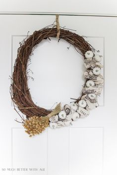grapevine wreath with pumpkins and wheat- Fall white pumpkin and ribbon wreath