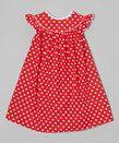 Red Polka Dot Angel-Sleeve Dress - Infant, Toddler & Girls