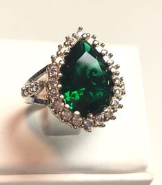Hurrem!! Ottoman Turkish Handmade Sterling Silver Emerald & Topaz Ring!!Size 8.5  | eBay